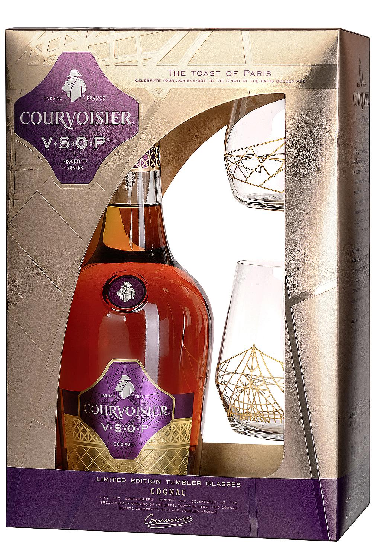 Courvoisier VSOP Fine Champagne 0,7 Liter in GP mit 2 Gläsern ...